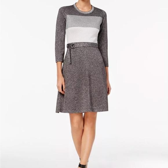 Calvin Klein Dresses & Skirts - NWT Calvin Klein Silver Metallic Sweater Dress